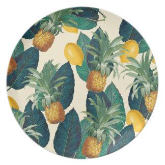 Prato De Festa amarelo dos limões do abacaxi