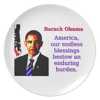 Prato De Festa América nossas bênçãos infinitas - Barack Obama