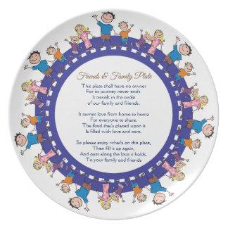 Prato De Festa Amigo e família que compartilham da placa -