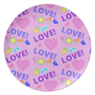 Prato De Festa Amor cor-de-rosa - placa da rocha 80s
