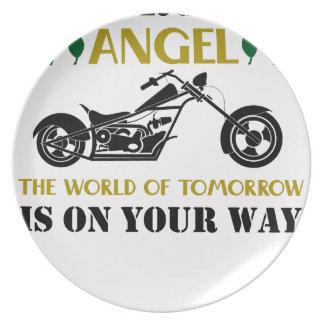 Prato De Festa Anjo da motocicleta
