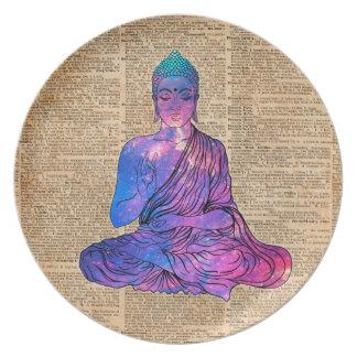Prato De Festa Arte do dicionário do vintage de Buddha do espaço