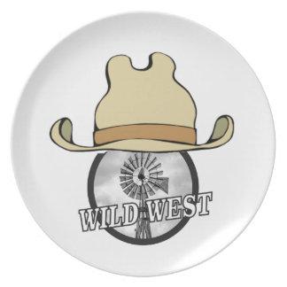 Prato De Festa arte ocidental selvagem do vaqueiro