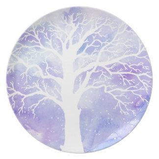 Prato De Festa Árvore do inverno da aguarela na neve