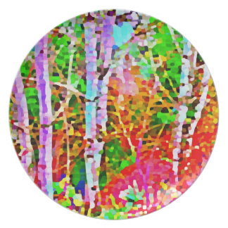 Prato De Festa Árvores de vidoeiro na primavera