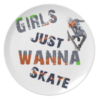 Prato De Festa As meninas apenas querem patinar