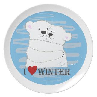 Prato De Festa Azul bonito polar da neve do abraço do inverno do