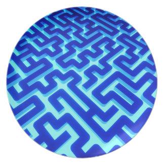Prato De Festa Azul do labirinto