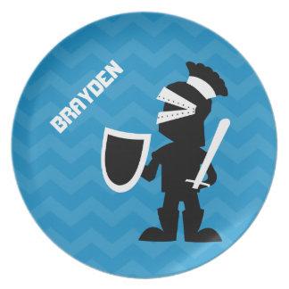 Prato De Festa Azul personalizado miúdos Chevron do cavaleiro