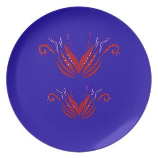 Prato De Festa Azul vermelho dos elementos do design