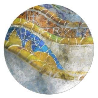 Prato De Festa Bancos do mosaico de Parc Guell na espanha de