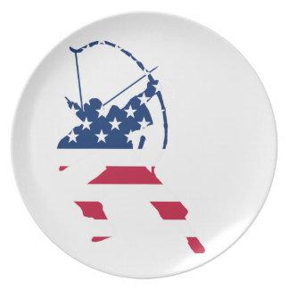 Prato De Festa Bandeira americana do arqueiro do tiro ao arco dos