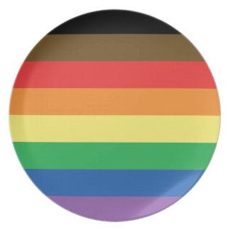 Prato De Festa Bandeira expandida LGBT customizável do arco-íris