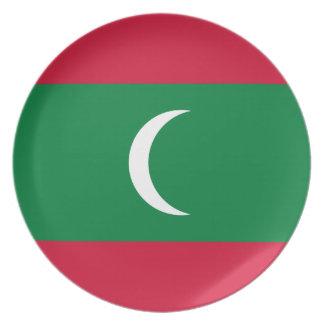 Prato De Festa Bandeira nacional do mundo de Maldives