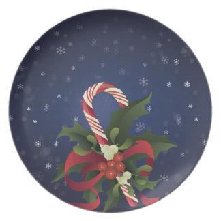Prato De Festa Bastão de doces do Natal em um berr do visco e do