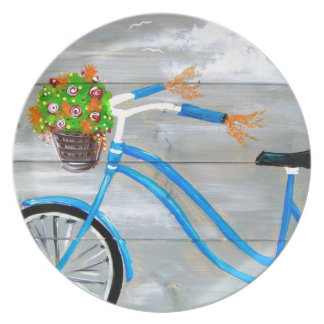 Prato De Festa Bicicleta azul Zazzle