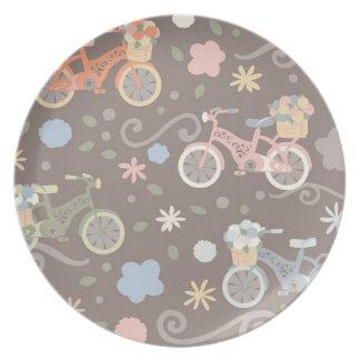 Prato De Festa Bicicleta retro e flores