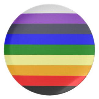 Prato De Festa Branco para enegrecer o arco-íris de espaços de