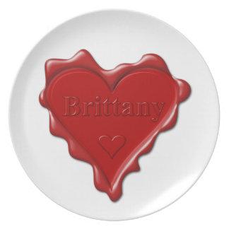 Prato De Festa Brittany. Selo vermelho da cera do coração com