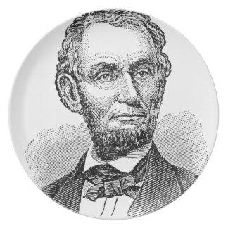 Prato De Festa Busto de Abe Lincoln do vintage