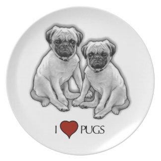 Prato De Festa Cães do Pug, eu amo Pugs, arte do lápis, coração