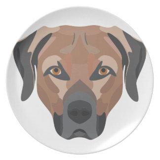 Prato De Festa Cão Brown Labrador da ilustração
