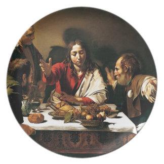 Prato De Festa Caravaggio - ceia em Emmaus - pintura clássica