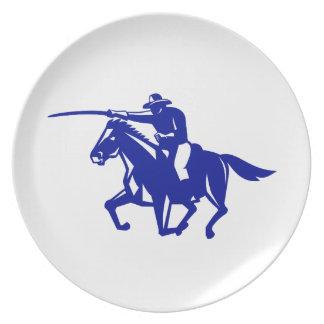 Prato De Festa Carregamento americano da cavalaria retro