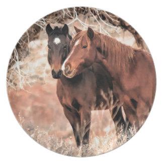 Prato De Festa Cavalos Nuzzling