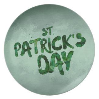 Prato De Festa Céltico verde do irlandês do trevo do Dia de São