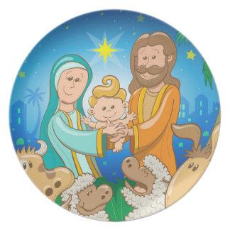 Prato De Festa Cena doce da natividade do bebê Jesus