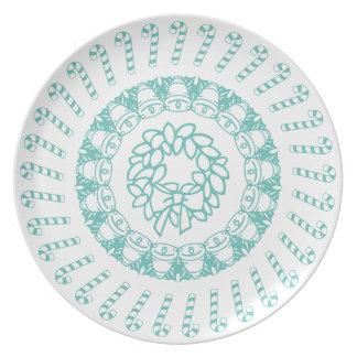 Prato De Festa Cerceta e teste padrão circular branco do Natal