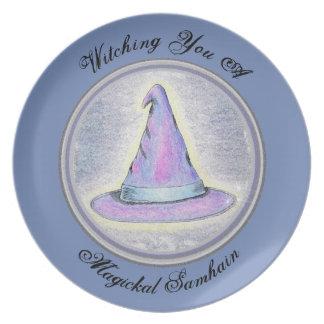 Prato De Festa Chapéu do Pagan do feiticeiro da bruxa de Samhain