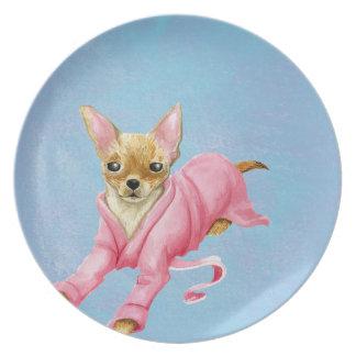 Prato De Festa Chihuahua em uma placa da melamina do cão do