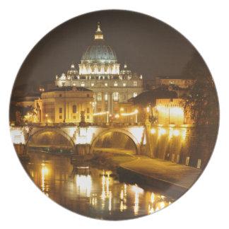 Prato De Festa Cidade do Vaticano, Roma, Italia na noite