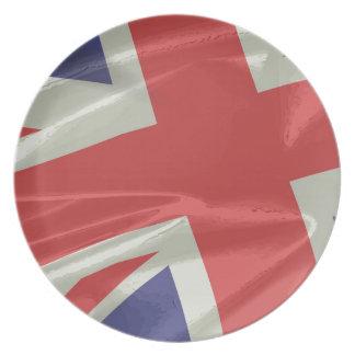 Prato De Festa Close up de seda da bandeira de Union Jack