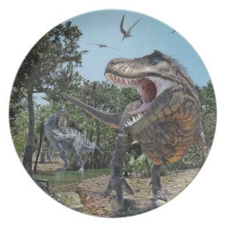 Prato De Festa Confrontação de Rex de Suchomimus e de