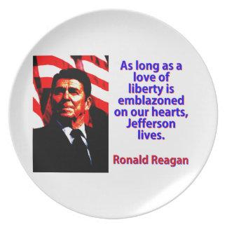 Prato De Festa Contanto que um amor da liberdade - Ronald Reagan