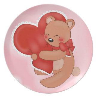 Prato De Festa Coração que aquece Teddybear