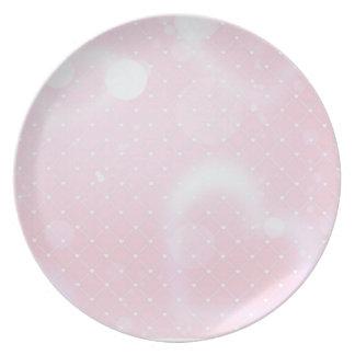 Prato De Festa Corações cor-de-rosa bonito e quadrados