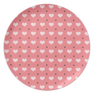 Prato De Festa corações rosas vermelha pastel do amor, teste