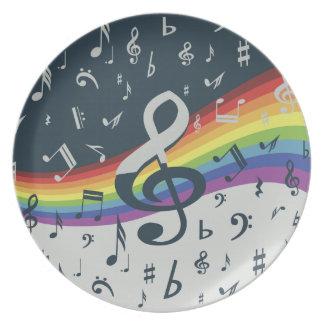 Prato De Festa Cores do arco-íris da onda do Clef de triplo