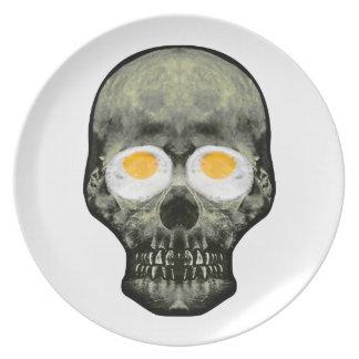Prato De Festa Crânio com olhos do ovo frito