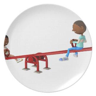 Prato De Festa Crianças do afro-americano dos desenhos animados