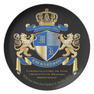 Prato De Festa Criar seu próprio emblema azul do leão do ouro da