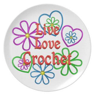 Prato De Festa Crochet vivo do amor