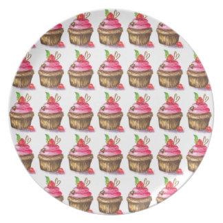 Prato De Festa Cupcake bonito e do divertimento do chocolate e da