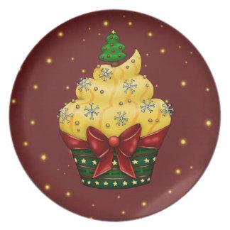 Prato De Festa Cupcake delicada com árvore de natal