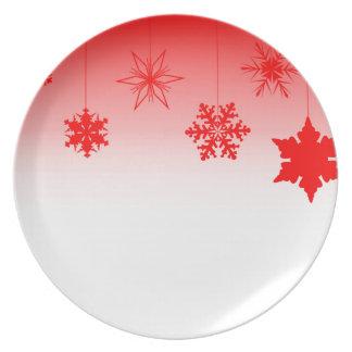 Prato De Festa Decorações vermelhas do Natal