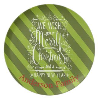 Prato De Festa Desejo personalizado você uma placa do Feliz Natal